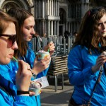 """""""Definitely one of the highlights [of the trip] was getting gelato every day,"""" said senior Kaitlyn Pattison (right). Photo by Molly Howland."""