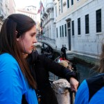 Students were given earpieces to listen to their local guides. Here, senior Tori Holt listens in Venice. Photo by Molly Howland.