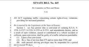Senate Bill No. 465: Traffic Regulations