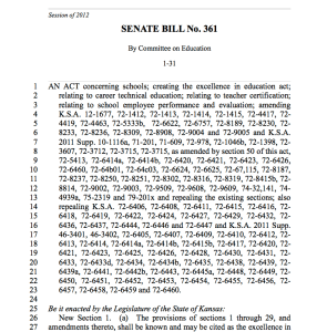 SB 361: Creating the Excellence in Education Act