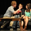 Juniors Malcolm Gibbs, Alex Ritchie, and Sophie Fields act in an Original One Act. Photo by Katie Sgroi
