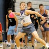 Senior Nick Steiner, playing for the PVPD, throws the ball at members of the Globetrotters in the semi-final round of the tournament. Photo by Marisa Walton