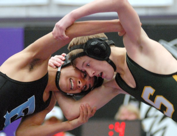 Sophomore Mike Bamford meets his opponent from BVNW head-to-head. Photo by James Wooldridge