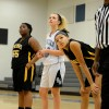 Chloe Harrington anticipates for her teammate to make a free throw, which she made. By Katie Lamar