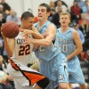 Sophomore Joey Wentz fights to steal the ball from senior Brady Skeens during the first half. Photo by Marisa Walton