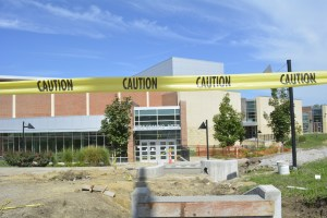Flooding Forces Construction Outside Auditorium