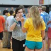 Freshman attempts to share her birthday to her link leader during a silent bonding exercise. Photo by Katie Lamar
