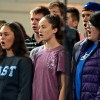 Junior Carlie Byrd sings along with her section. Photo by Kaitlyn Stratman.