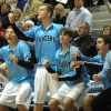 The Lancers on the bench looks at junior Jay Guastello as he draws the foul. Photo by Joseph Cline.