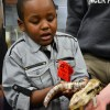 An East student lets a boy hold part of the salamander. Photo by Kaitlyn Stratman