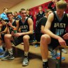 East players sit in the locker room at half time. They were down by seven. Photo by James Wooldridge