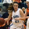 Senior Hannah Nick attempts to get past an Olathe East defender. Photo by Annie Lomshek