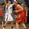 Sophomore Josie Clough guards an opponent from passing. Photo by Annie Lomshek