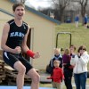 Senior Sean O'Toole celebrates after landing a successful pole vault. Photo by Morgan Browning