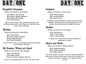 Repertory Theatre Original One Acts: Day One
