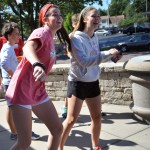 Sophomore Katie Hise and sophomore Daisy Bolin dance during their lunch break.