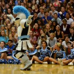 The Lancer mascot pumps up the crowd. Photo by Diana Percy