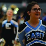 Junior, Lily Horton, stands in chant line waiting for the pep assembly to begin. Photo by Ava Simonsen