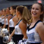 Freshman Piper Noblit laughs at her friend while the Lancer Dancers wait for the students to come. Photo by Kaitlyn Stratman