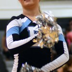 Junior Isa Tamburini helps the Lancer Dancers pump up the crowd for the assembly. Photo by Kaitlyn Stratman