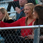 Seniors and Homecoming Queen Candidates Hannah Eldred and Brooke Erickson snap a selfie before the game starts. Photo by Ellie Thoma