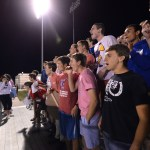 The student section reacts to a save by goalie Thomas Allegri. Photo by Katie Lamar