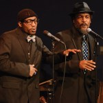 The two men capture the audience with their poetry and recitation of  Langston Hughes. Photo by Kaitlyn Stratman