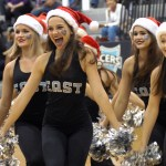 The varsity lancer dancers perform their Christmas themed dance at halftime.  Photo by Tess Iler