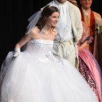 Sophomore Savanna Worthington, who plays Cinderella, takes her bows alongside Senior Charlie Jensen at the end of the musical. Photo by Abby Blake