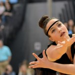 Senior Brooke Erickson performs during the varsity Lancer Dancers' routine.  Photo by Tess Iler
