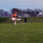 Senior Emily Chisholm takes a goal kick. Photo by Kaleigh Koc