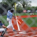 Sophomore Christian Flathman hitting the ball to left field.