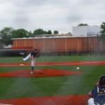 Hitting the ball.