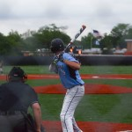 Sophomore Nick Kohler getting ready to hit at the top of the 4th inning.