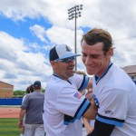 """Coach Ryherd finds Joey Wentz after the big win to congratulate him. Ryherd said """"Thats tha hardest ball i've ever seen you hit."""" Photo by Spencer Carey"""