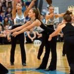 Senior Gretchen Crum strikes a pose as the Varsity Lancer Dancers begin their routine. Photo by Audrey Kesler