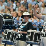 Senior drumline members Jason Rhodes and Ian Logan help with the last chant. Photo by Katherine Odell