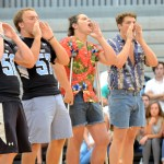 Seniors Stephen Shipley, Parker Shirling, Peter Haynes, and Jack Barickman lead the school in a new chant. Photo by Maddie Smiley