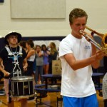 Sophomore Will Chamberlain plays the trombone with the band. Photo by Lizzie Kahle