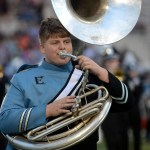 Junior Harrison Quick plays the tuba during the halftime show with the rest of the band. Photo by Audrey Kesler