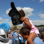 The Lancer greets a young future East student. Photo by Caroline Mills