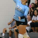 Sophomore Christina Brogden serves the ball. Photo by Ellen Swanson