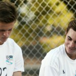 Sophomores Parker Willis and Carson Jones take a break during halftime. Photo by Sophie Storbeck