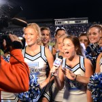 Senior Tyler Lockton recites her lines for the Hyvee ad the cheerleaders helped film. Photo by Ellie Thoma