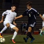 Senior Greyson Rapp side steps his defender to create an offensive opportunity. Photo by Audrey Kesler