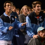 Juniors Cooper McCullough, Nic Gasperi and Ian Schutt watch senior Oliver Bihuniak score during over-time. Photo by Carson Holtgraves