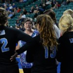 Head Coach Patty Phillips talks to the team during a time out near the end of the game. Photo by Kaitlyn Stratman