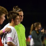 Seniors Oliver Bihuniak and Clayton Philips hug when they realized they were heading to semi finals. Photo by Katherine Odell