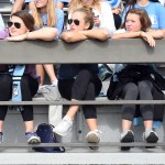 Seniors Allie Libeer, Emma Henderson, Libby Legard, Josie Clough, and Chase Tetrick watch the Lancers move the ball down the field. Photo by Haley Bell