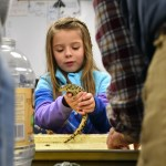 A little girl holds a salamander while being supervised by the leaders of the amphibian station. Photo by Lucy Morantz